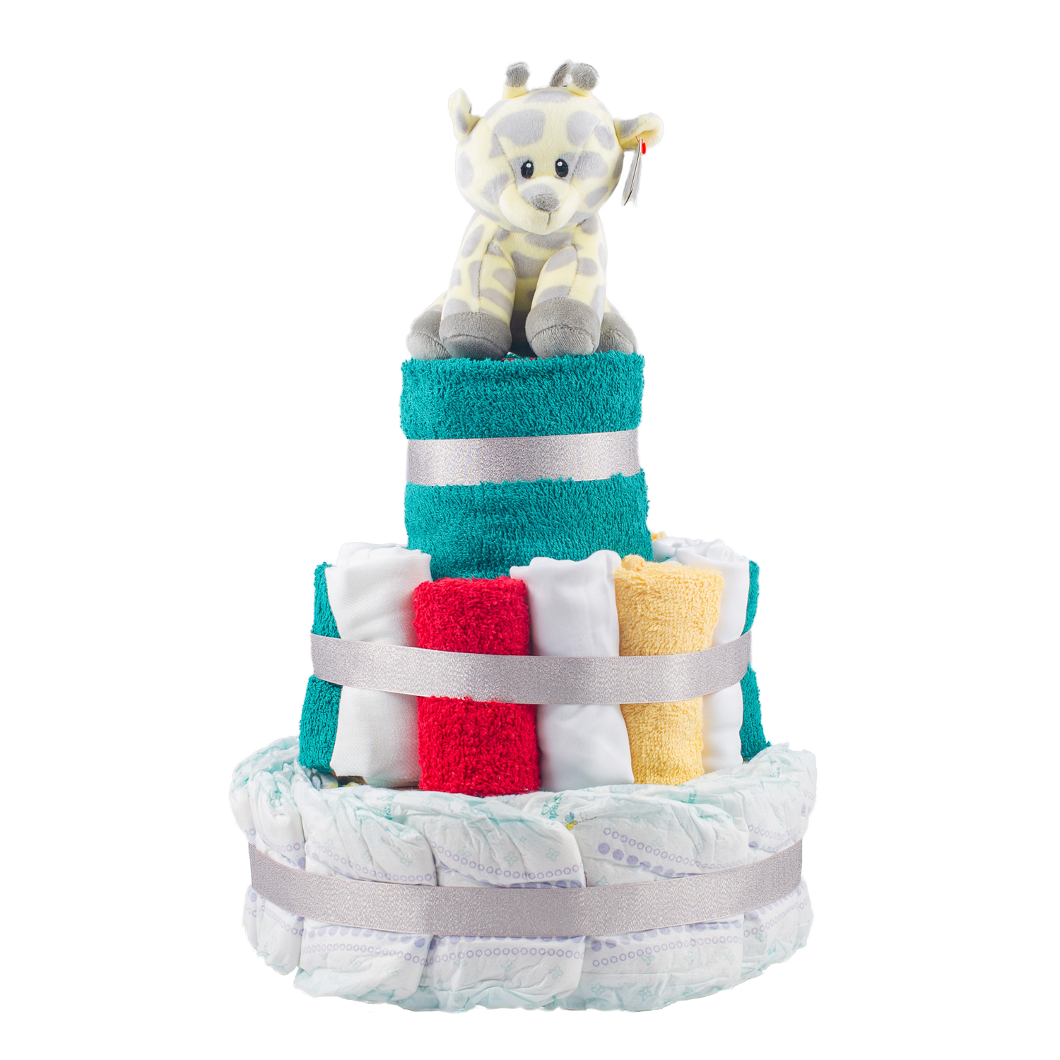Stylish 3-Tier Multi-Coloured Nappy Cake