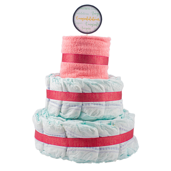 Basic 3-Tier Pink Nappy Cake