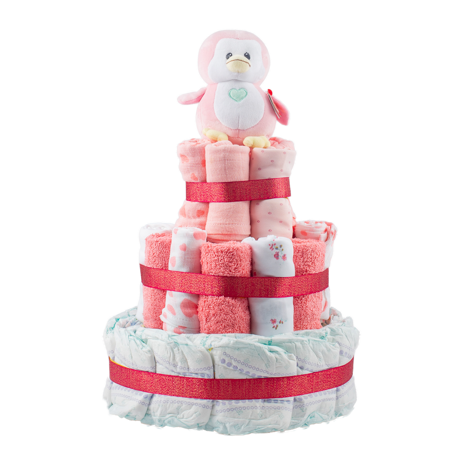 Personalised 3-Tier Pink Nappy Cake
