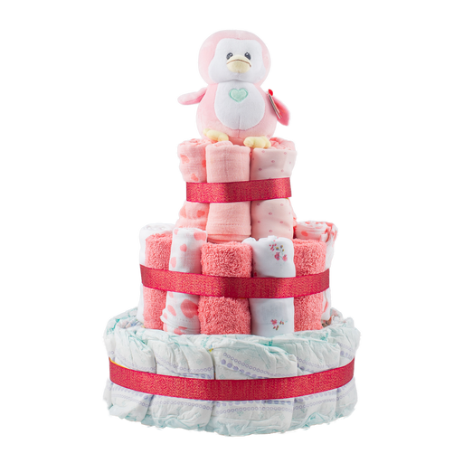 Personalised 3-Tier Pink Nappy Cake.