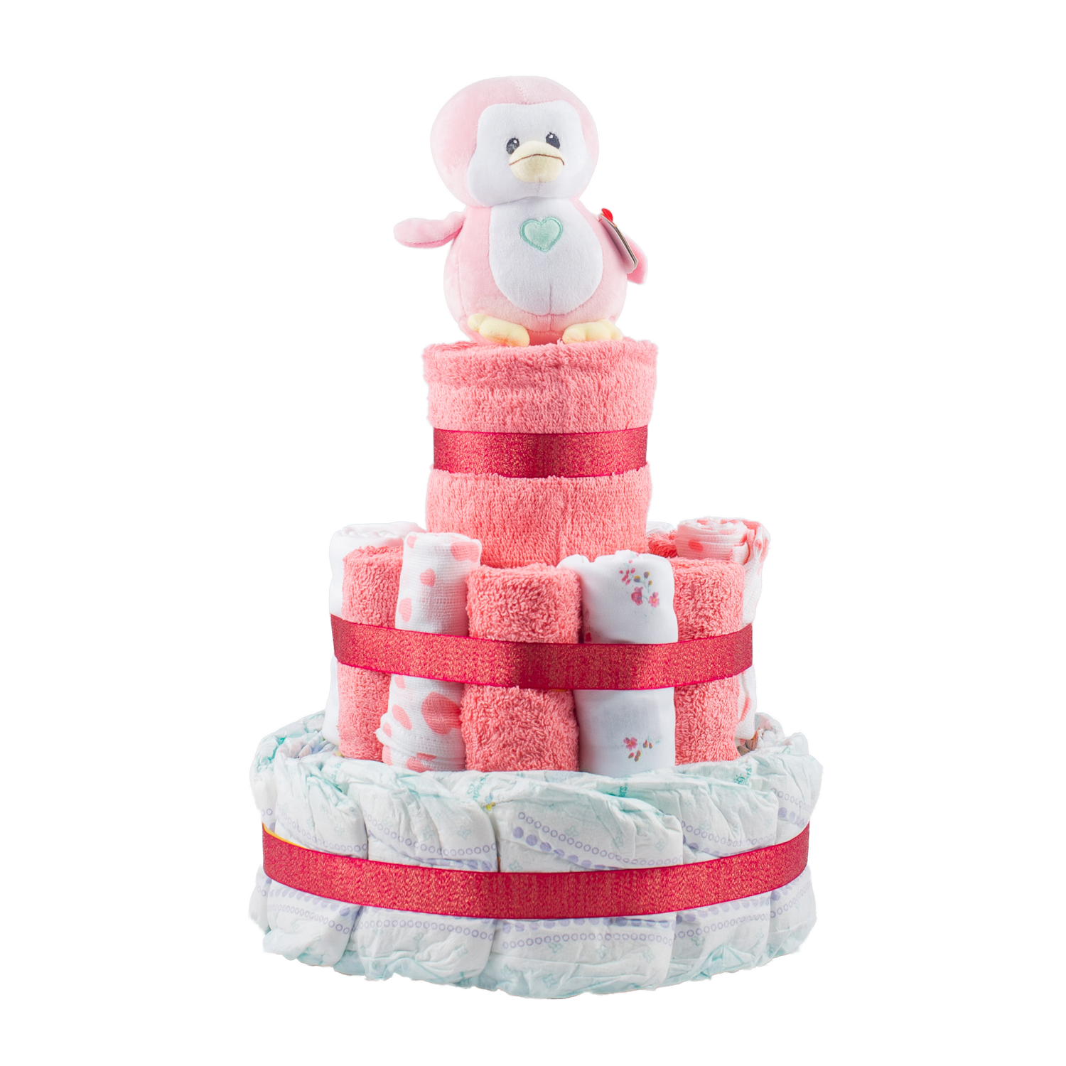 Stylish 3-Tier Pink Nappy Cake