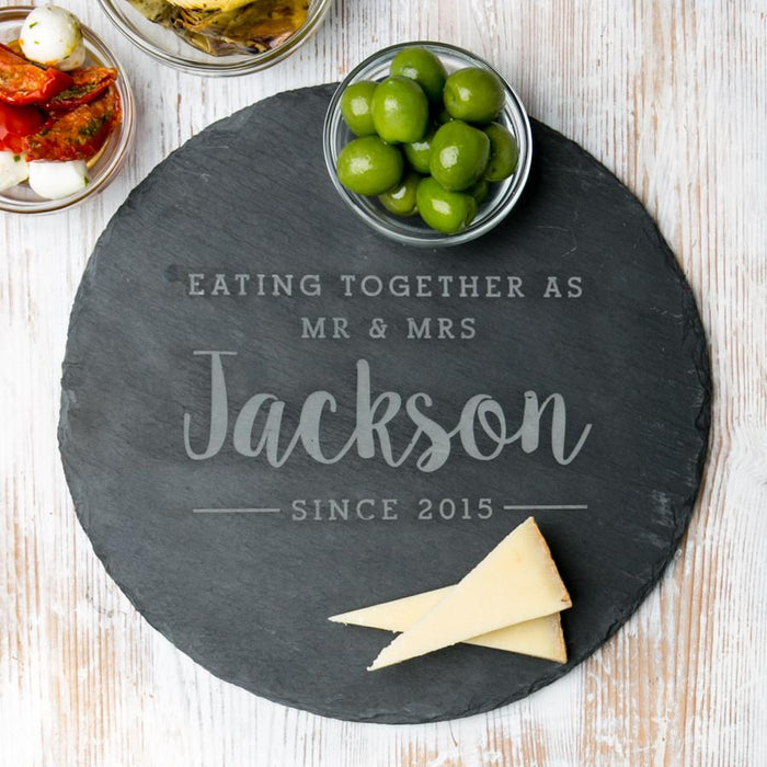 Personalised Round Slate Serving Board (4 lines)