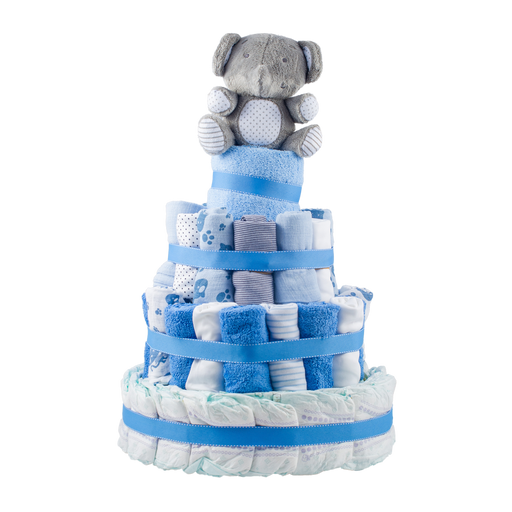 Stylish 4-Tier Blue Nappy Cake