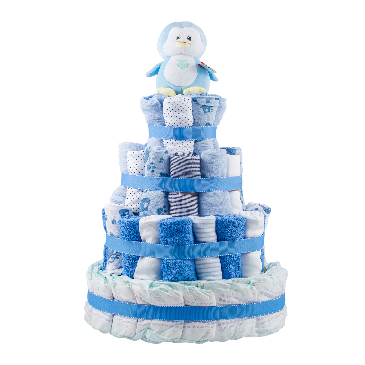 Personalised 4-Tier Blue Nappy Cake