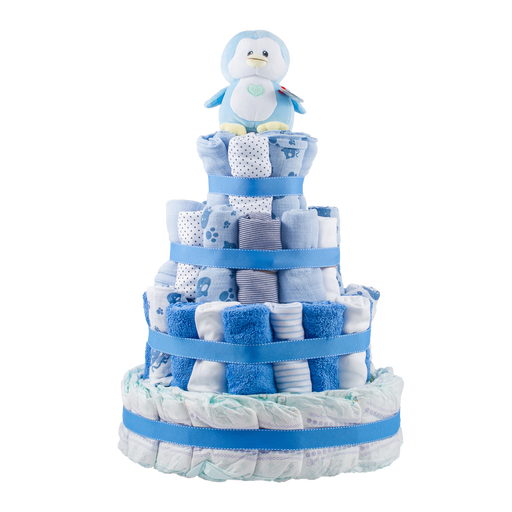 Personalised 4-Tier Blue Nappy Cake.