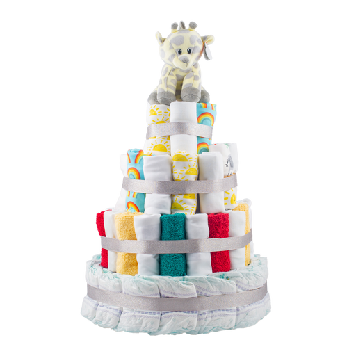 Personalised 4-Tier Multi-Coloured Nappy Cake | nappycakes-mt | Nappy Cake.