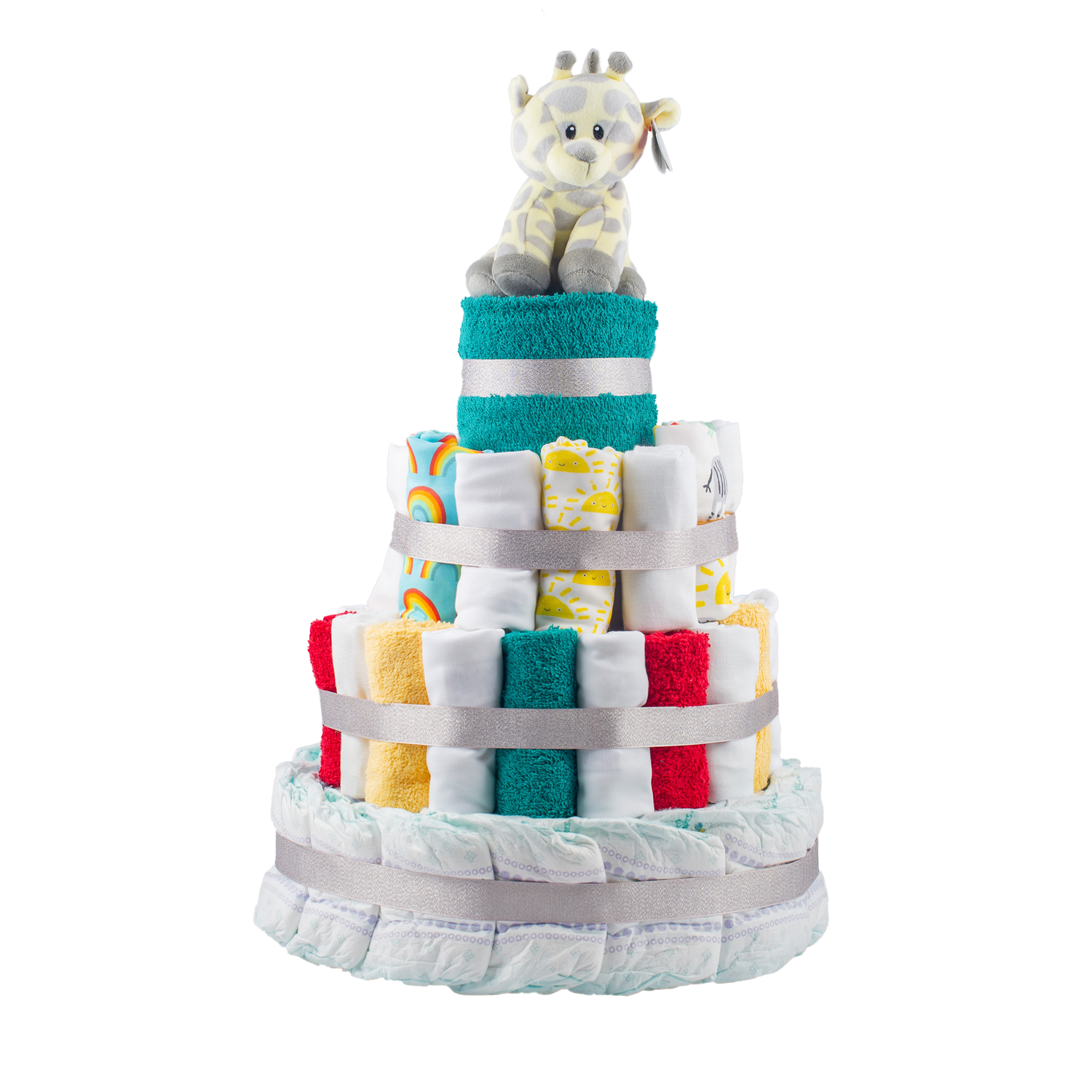 Personalised 4-Tier Multi-Coloured Nappy Cake