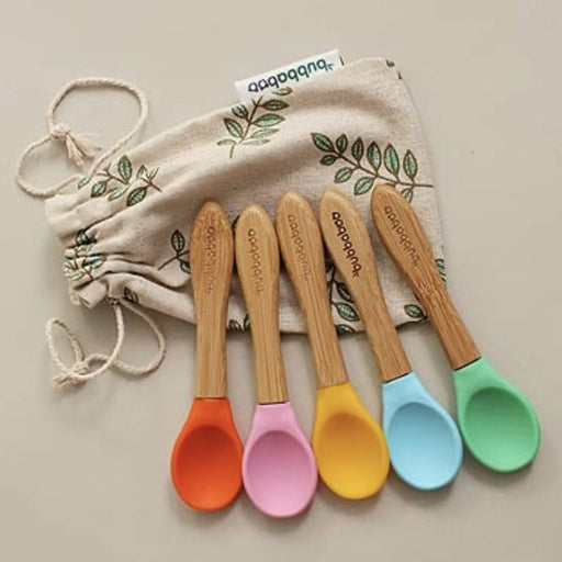 Bubbaboo 5 Bamboo Spoons With Soft Silicone Tips Set