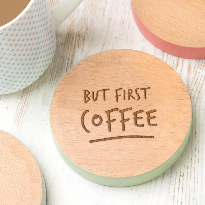 But first Coffee/Tea' Personalised Coasters | nappycakes-mt | Personalised Gift Items.