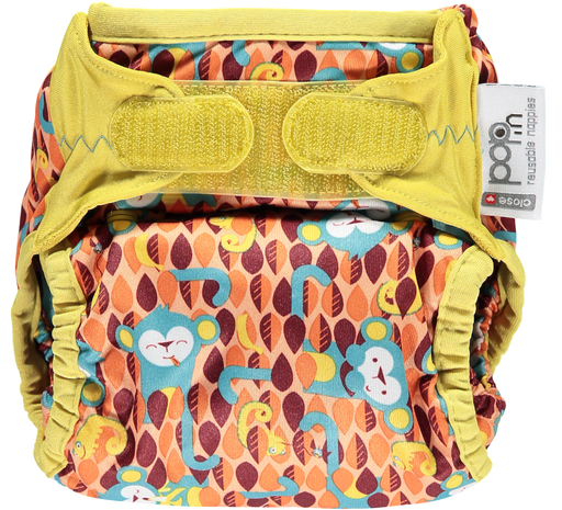 Close Parent All In Two Velcro Cloth Nappy - Monkey | nappycakes-mt | Single Item.