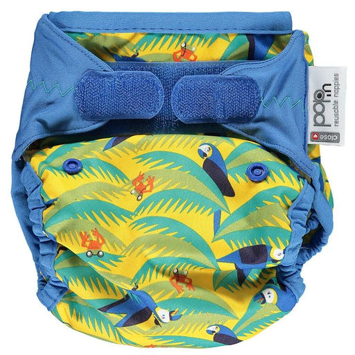 Close Parent All In Two Velcro Cloth Nappy - Parrot | nappycakes-mt | Single Item.