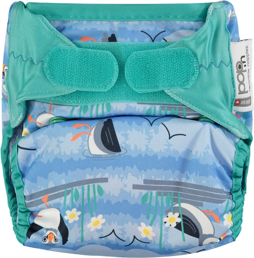 Close Parent All In Two Velcro Cloth Nappy - Puffin | nappycakes-mt | Single Item.