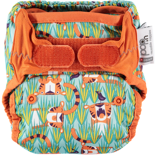 Close Parent All In Two Velcro Cloth Nappy - Tiger | nappycakes-mt | Single Item.