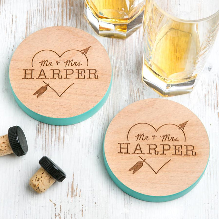 Couples Personalised Heart Coasters Set.