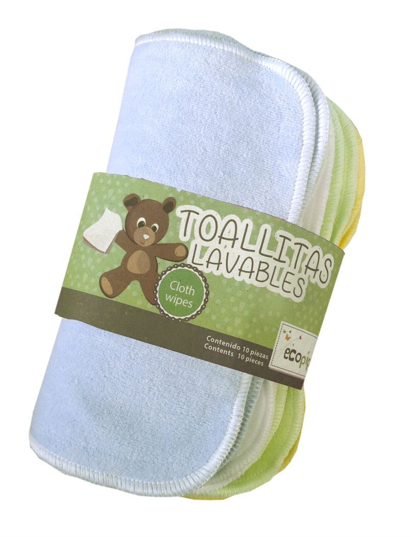 Ecopipo Reusable Cotton Wipes - Mixed Colours inc. Blue