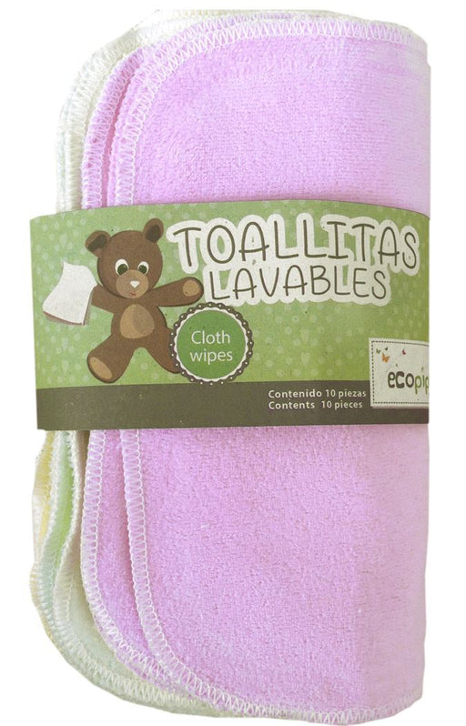 Ecopipo Reusable Cotton Wipes - Mixed Colours inc. Pink | nappycakes-mt | Single Item.