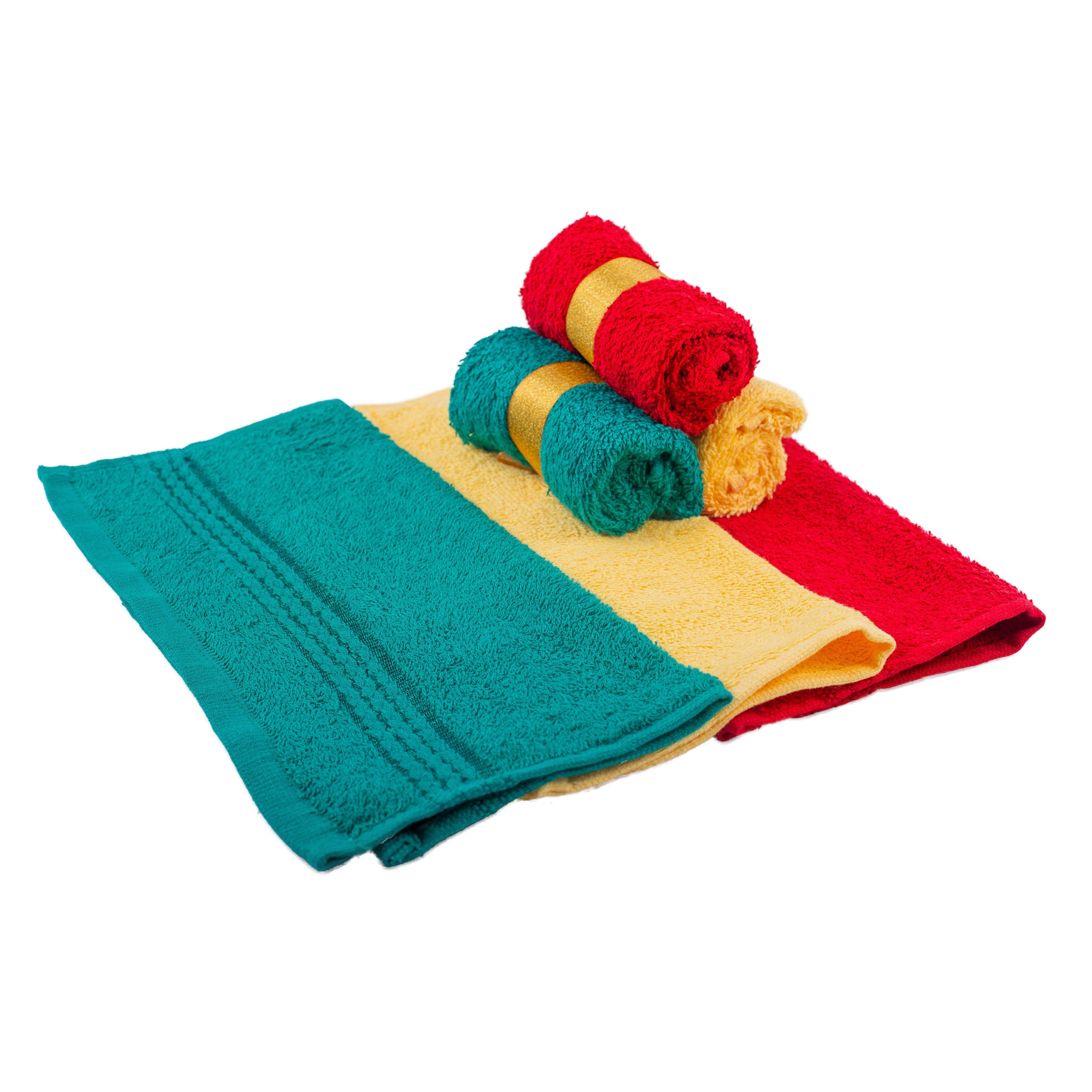 Facecloths x 6 - Green/Yellow/Red
