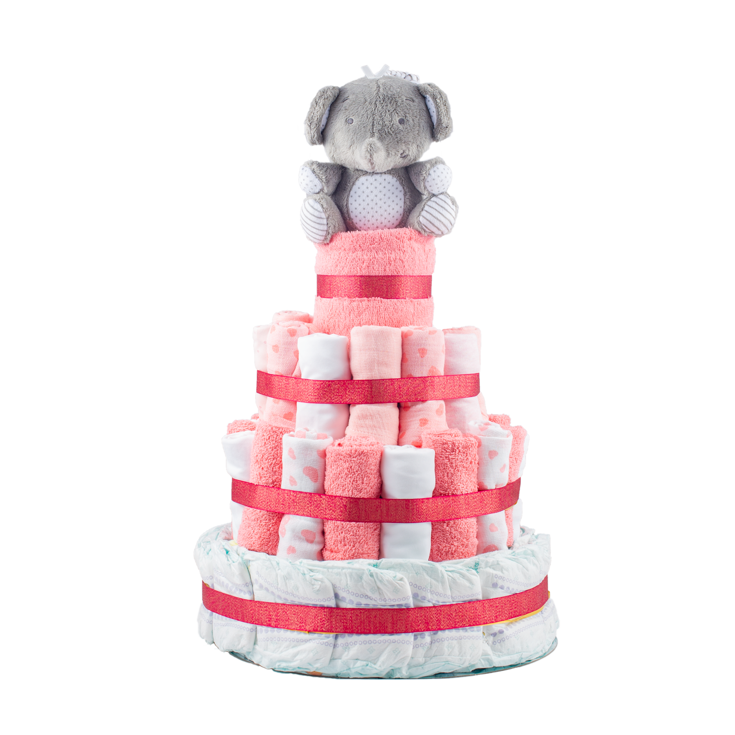 Personalised 4-Tier Pink Nappy Cake