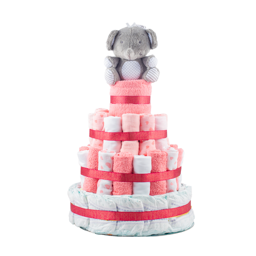 Stylish 4-Tier Pink Nappy Cake.