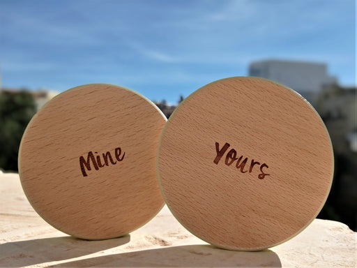 Wooden Coasters Set (x2) - Mine & Yours | nappycakes-mt | Single Item.