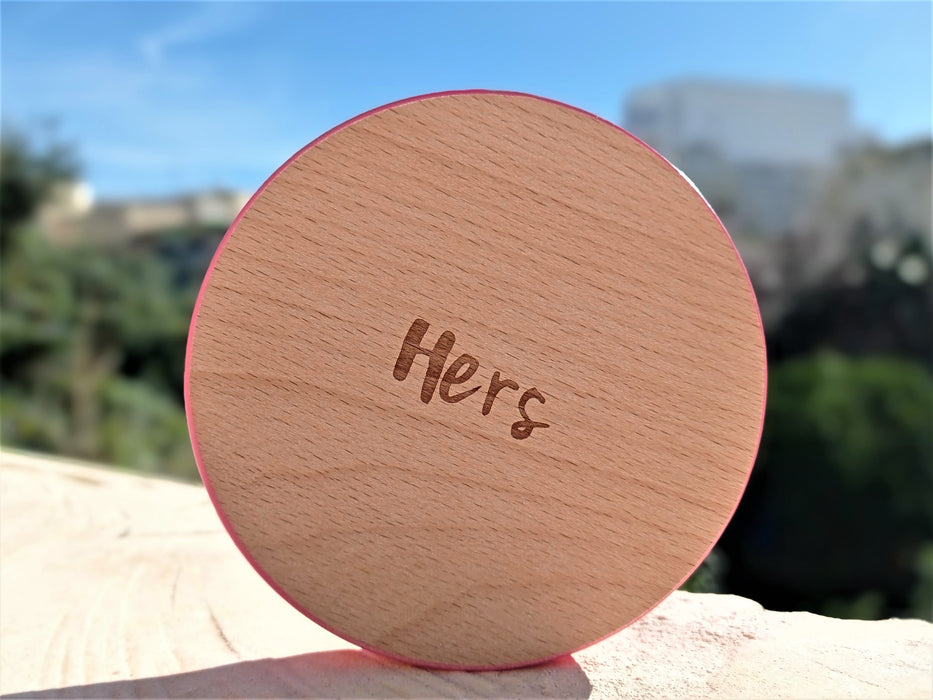 Wooden Coasters Set (x2) - His & Hers | nappycakes-mt | Single Item.
