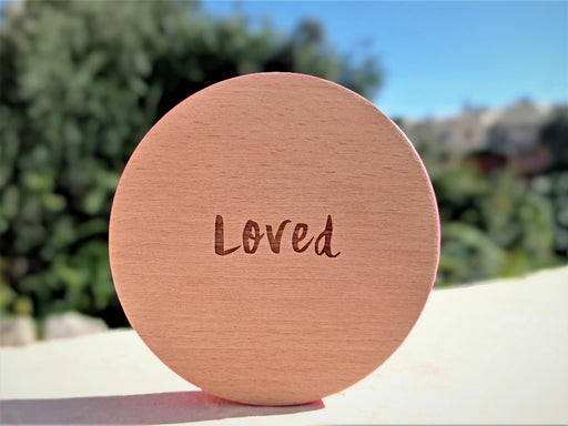 Wooden Coaster - Loved | nappycakes-mt | Single Item.