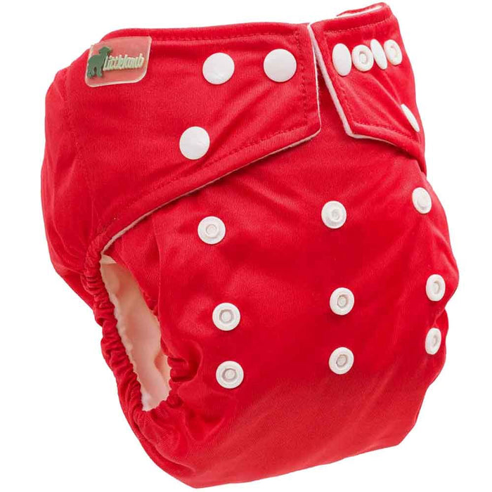 Little Lamb One Size Pocket Cloth Nappy - Red | nappycakes-mt | Single Item.