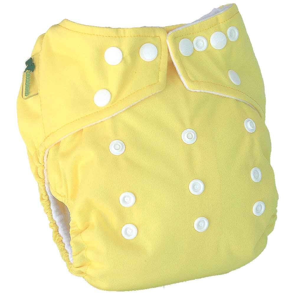 Little Lamb One Size Pocket Cloth Nappy - Yellow | nappycakes-mt | Single Item.