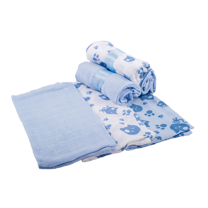 Muslin Squares x 12 - Blue | nappycakes-mt | Single Item.