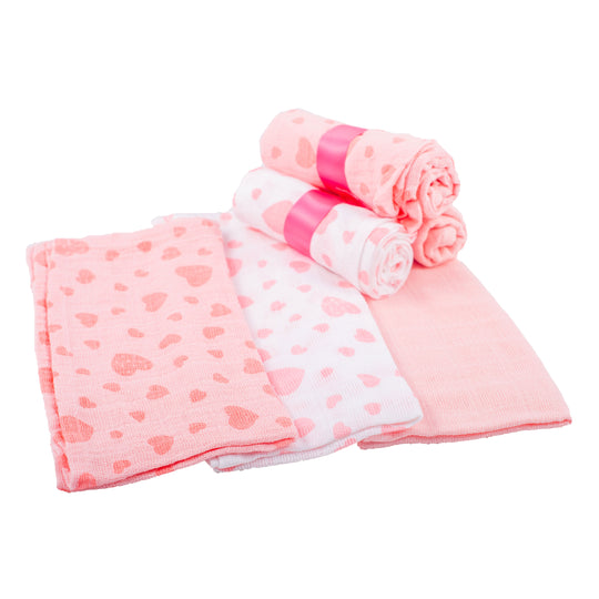 Muslin Squares x 12 - Pink | nappycakes-mt | Single Item.