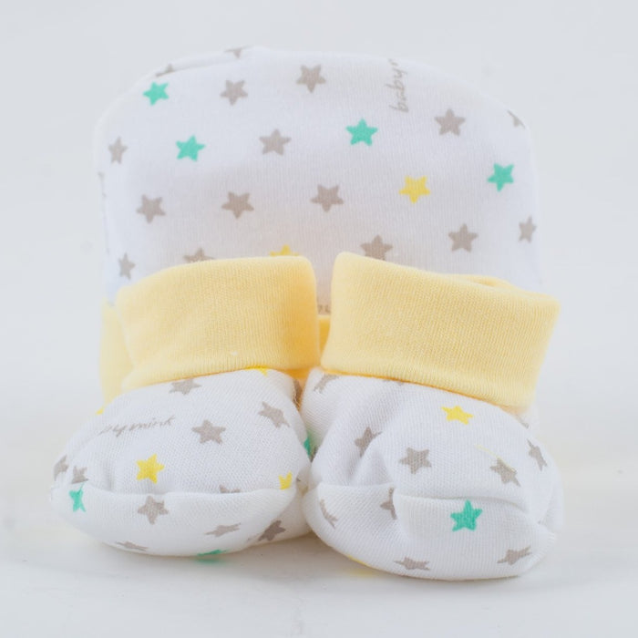 Baby Mink 1st Set Cap & Shoes - Yellow | nappycakes-mt | Single Item.