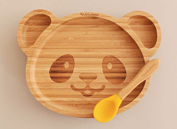 Bubbaboo Organic Bamboo Panda Plate and Spoon Set