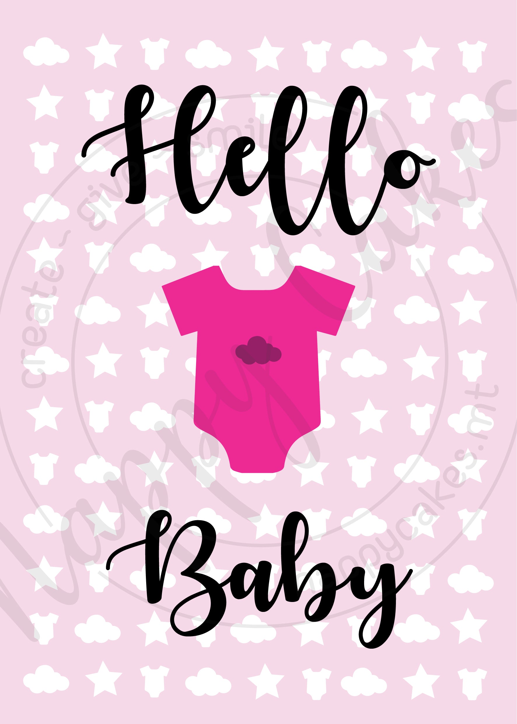 Hello Baby Greeting Card | nappycakes-mt | Greeting Card.