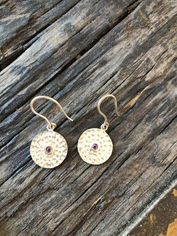 Hannah Cross - Textured Disc with Stone earring
