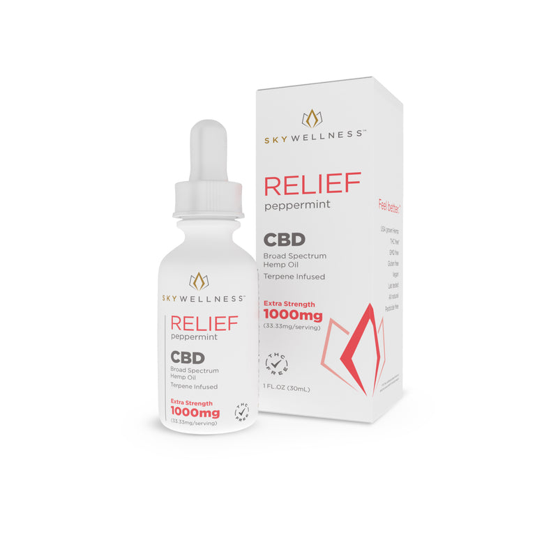 CBD Relief Tincture SW 1000mg Peppermint - Terpene Infused