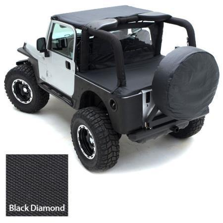 Tonneau Cover For OEM Soft Top W/Channel Mount 97-06 Wrangler TJ Not LJ Models Denim Black Smittybilt - Get Lift Kits - getliftkits.com - Smittybilt - 761015-SMB, Smittybilt, Tonneau Covers - Tonneau Covers