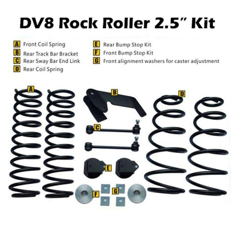 "DV8 Offroad JK Rock Roller 2.5"" Lift Kit 07-18 JK w/Shock Extensions/Springs/ Brackets/ Spacers/ Bumpstops/ Endlinks/ Alignment Washers RR25JK-01SE-HKJT-Lift Kits-DV8 Offroad-Get Lift Kits"