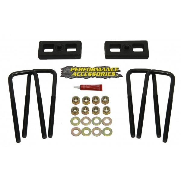 Performance Accessories 1 Inch Rear Block Kit Varied GM and Toyota Pickups Cast Iron w/Steel Hardware PABK01PA-bfrp-Suspension Blocks-Performance Accessories-Get Lift Kits