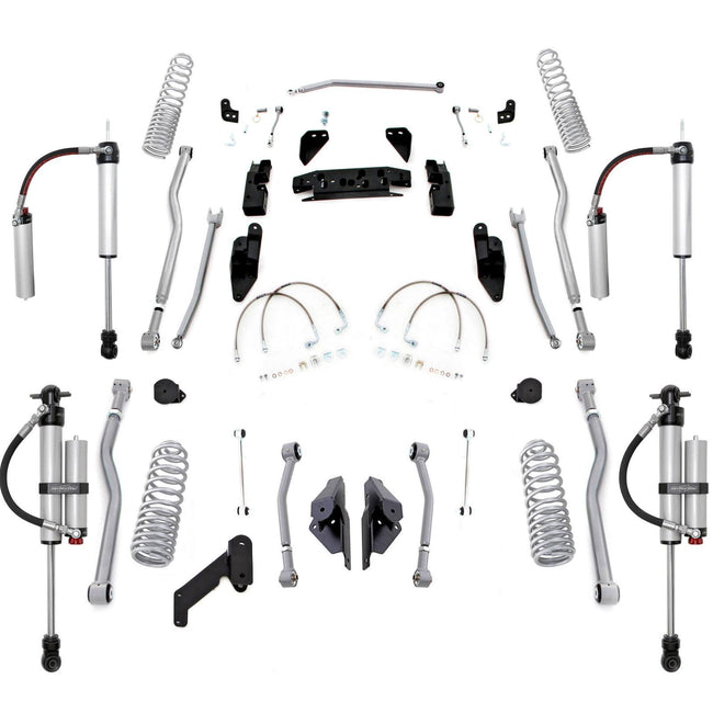 Rubicon 3.5 Inch Extreme-Duty Long Arm Progressive Coil Lift Kit with Monotube Reservoir Shocks 07-18 JK 4 Door JK4443PMR-Lift Kits-Rubicon Express-Get Lift Kits