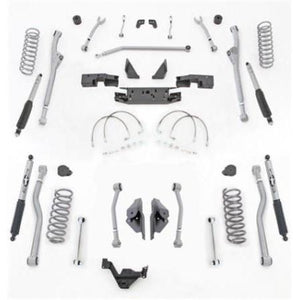Rubicon 3.5 Inch JK Lift Kit Extreme Duty Long Arm Radius Front 4 Link Rear 07-18 JKU 4 Dr JKR443M-Long Arm Lift Kits-Rubicon Express-Get Lift Kits