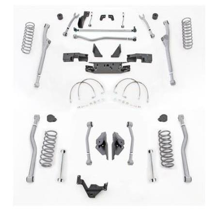 Rubicon 4.5 Inch JK Lift Kit Extreme Duty Long Arm Radius Front 4 Link Rear 07-18 JK 2Dr JKR424-Long Arm Lift Kits-Rubicon Express-Get Lift Kits