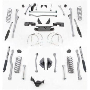 Rubicon 4.5 Inch JK Unlimited Lift Kit Extreme Duty Long Arm 4 Link W/Mono Tube Shocks 07-18 JKU 4 Dr JKR444M-Long Arm Lift Kits-Rubicon Express-Get Lift Kits