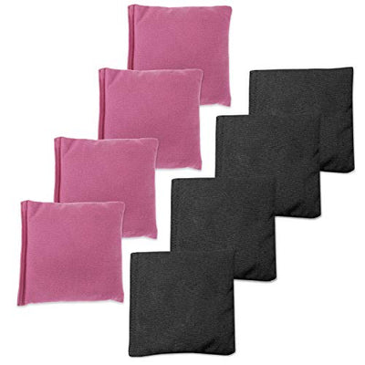 Weather Resistant Cornhole Bean Bags Set of 8 - Regulation Size & Weight - 4 Pink & 4 Black Corn Hole Bags