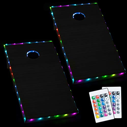 Play Platoon LED Cornhole Lights for Hole and Board, Set of 2, Multicolor - Corn Hole Lighting Kit for Lighted Outdoor Night Games - Bright, Long Lasting, Easy to Install