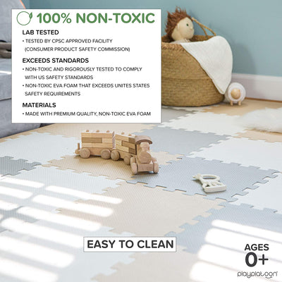 "Non-Toxic Foam Puzzle Floor Mat, Comfortable, Extra Thick, Cushiony Exercise and Play Mat for Toddlers, Kids & Adults, 36 Tiles (12""x12""), Warm Grey/Cream/Sand"