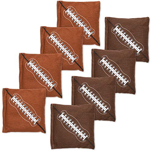 Premium Weather Resistant Duckcloth Cornhole Bags - Set of 8 Bean Bags for Corn Hole Game - Regulation Size & Weight - Football Design