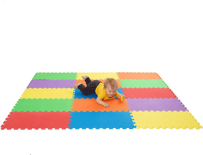 Non-Toxic Extra Thick 9 Piece Children Play & Exercise Mat - Comfortable Cushiony Foam Floor Puzzle Mat, 6 Vibrant Colors for Kids & Toddlers