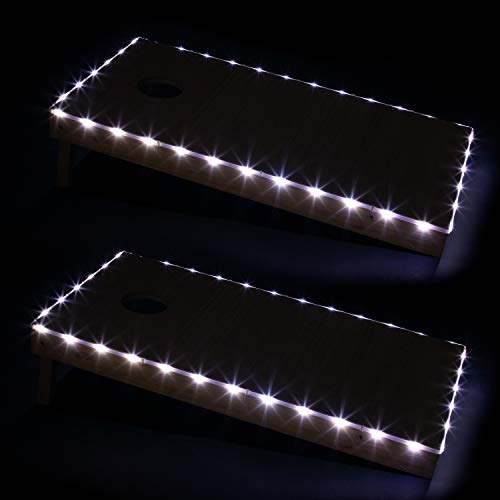 Play Platoon LED Cornhole Board Lights Set of 2, White - Corn Hole Edge Lighting Kit for Lighted Outdoor Night Games - Bright, Long Lasting, Easy to Install