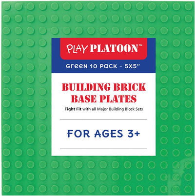 Building Brick Stackable Base Plates - Green 10 Pack of 5 x 5 Inch Classic Baseplates - Compatible with All Major Building Block Toys