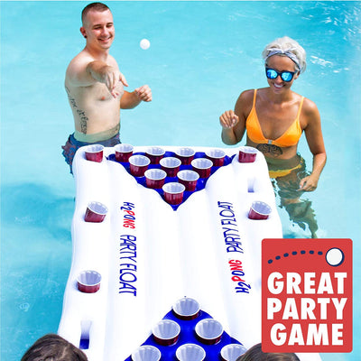 Play Platoon Jumbo Donut Pool Float - Gigantic Chocolate or Strawberry Donut Inflatable - Fun for The Beach or Pool, Includes Patch Kit (Beer Pong Raft with Cooler)